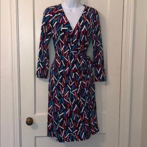 Anne Klein colorful pattern navy dress sz 6